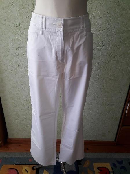 Białe Bawełniane Spodnie Rozmiar 42