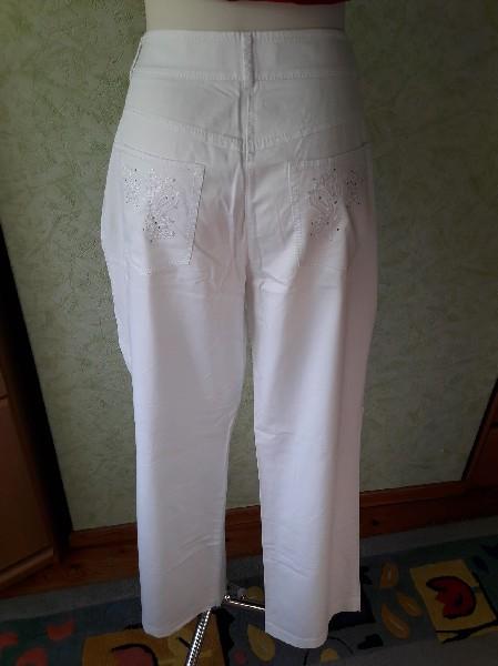 Białe Bawełniane Spodnie Rozmiar 42 2