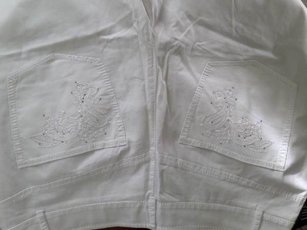 Białe Bawełniane Spodnie Rozmiar 42 4